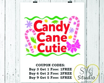 SVG Cutting File - Candy Cane Cutie - Christmas Quote SVG Cutting File