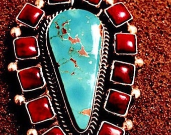 Navajo Turquoise Spiny Oyster Sterling Pendant