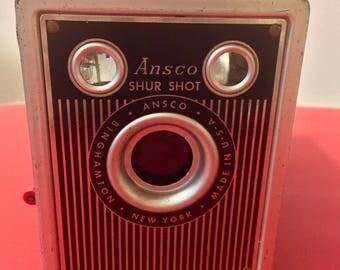 Vintage Ansco Box Camera - Shur Shot - Art Deco -  Shutter Works - 1940s