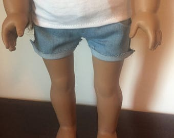 Light wash cutoff shorts made to fit 18 inch dolls such as American Girl Dolls