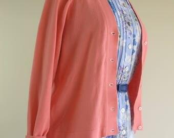 Vintage 1950s Coral Pastel Pink Knit 50s Orlon Cardigan