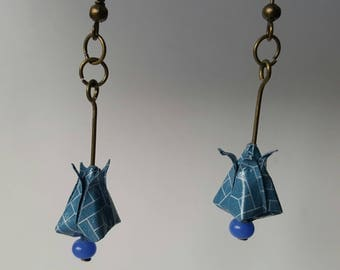 Origami lotus button earrings
