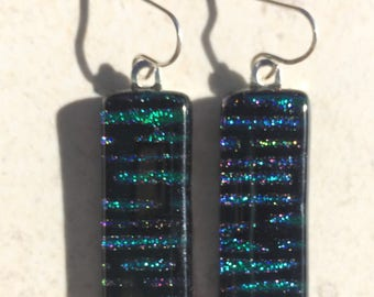 Dichroic Fused Glass Earrings - Teal Blue and Purple Stripe Pattern on Black with Solid Sterling Silver Ear Wires