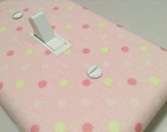 Pink Nursery Switchplate, Light Switch Plate, Light Switch Cover, Outlet Cover, Polka Dots Pink Yellow, Baby Girl Nursery Decor, Polkadots