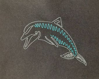 Dolphin Machine Embroidery Pattern, 5x7 and 6x10, Easy Pattern. Dolphin line embroidery pattern. Redwork. Instant Download. By Pixie Willow