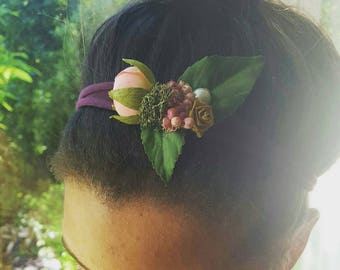 Summer berries head tie, headband, tiebacks, baby size available.