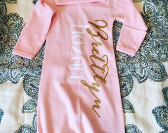 Sleeper Gown and Beanie Set, Baby Sleeper Set with Name