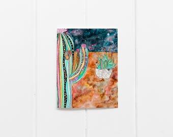 Cactus Greeting Cards/Set of 6 Cactus Greeting Cards/ Botanic Garden Print/Blank Greeting Card Set/Cacti Notecards/Desert Art Print/CC-07