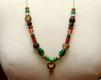 Chain, Odin, amulet, glass beads, leg beads, Viking, Replica, Reenact, medieval, Larp