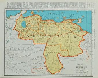 1942 Venezuela Map - Vintage Map - Mid Century Map - Antique Venezuela Map - Vintage Venezuela Map - South America Map - Maps - 30/070817