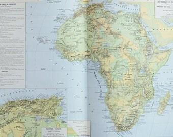 Antique Tunisia Map Etsy - Tunisia map africa