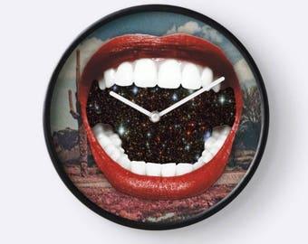 Mouth Clock, Cactus Clock, Lips Wall Clock, Space Clock, Plant Wall Clock, Unique Wall Clock, Hanging Clock,