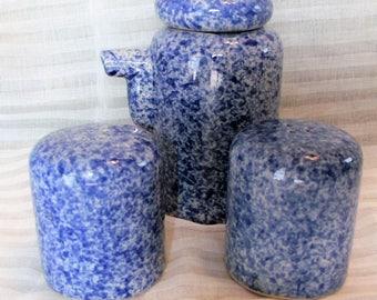 Blue & White Speckled Stoneware Cream Salt /Pepper Shaker Set ~ Vintage Spatterware Crockery Hand Thrown Speckled Pottery Kitchen Decor Set