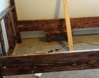 rustic bed burn wood bedroom queen bed reclaimed wood bed
