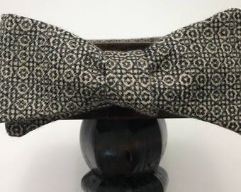 Geometric Men's bow tie, self-tie handmade and adjustable from upcycled and repurposed material  // leopard print// ReTied