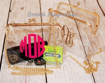 Clear Clutch Cross Body Purse Football NFL NCAA Stadium Approved - Monogrammed / Personalized