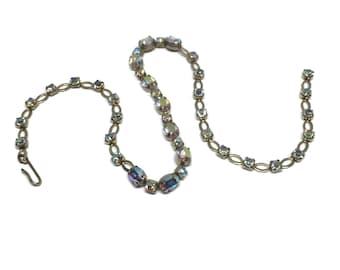 "Vintage Aurora Borealis Rhinestone Crystal Choker for Bride 15"""