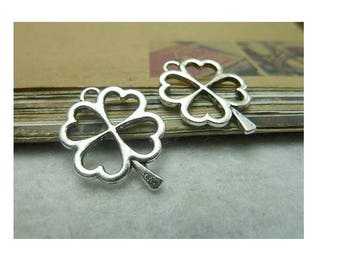 SET of 5 four clover charm 4 silver leaves (B58)
