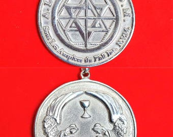 Martinist medallion talisman of very high protection with the angelic alliance in silver sterling