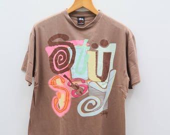 Vintage STUSSY Streetwear Hip Hop Pop Art Brown Tee T Shirt Size L