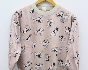 Vintage 101 DALMATIANS DOG Novel Animation Movie Pink Sweater Sweatshirt