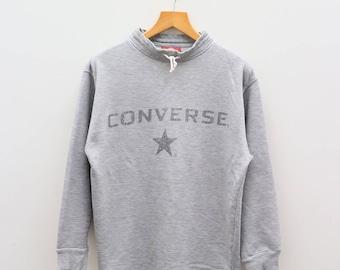 Vintage CONVERSE All Star Chuck Taylor Boston Mass Big Spell Gray Sweater Sweatshirt Size L