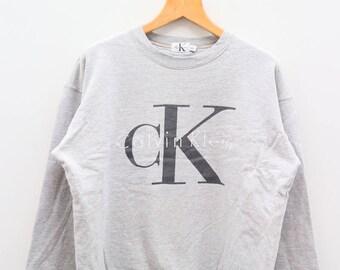 Vintage CK Clavin Klien Jeans Fashion Designer Gray Sweater Sweatshirt Size L