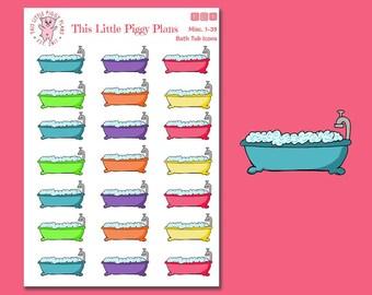 Bathtub Icons Planner Stickers - Bathtub Stickers - Bath Time Planner Stickers - Shower Stickers - Me Time Planner Stickers - [Misc 1-39]