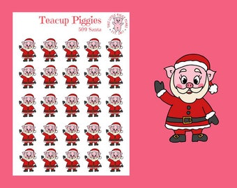 Teacup Piggies - Santa Planner Stickers - Christmas Stickers - Holiday Stickers - Xmas - Winter - Santa Claus - Pig Stickers - [509]