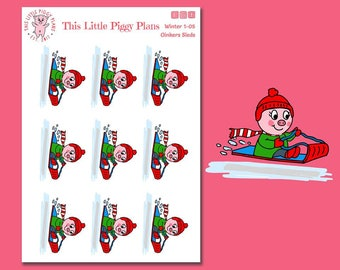 Oinkers Sleds - Sledding Planner Stickers - Snow Day Stickers - Snow Fun - Sled - Go Sledding - Play in Snow -Winter Stickers -[Winter 1-05]