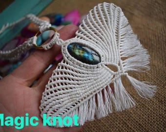 Magic Labradorite Necklace/ White necklace/ Gemstone jewelry/ Healing jewelry/ Angel necklace/Unique Wedding necklace/ Virgin necklace/Boho