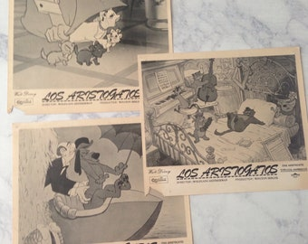 Vtg 3 spanish DISNEY PHOTO 1970 Aristocats Movie Newspaper Press Release