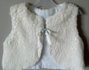 Off white Shepherd imitation vest faux fur with tortoiseshell 2 years