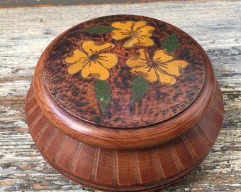Rare vintage turned wood box from the 50's, souvenir from Lourdes, made in France