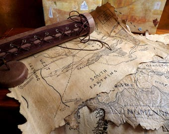Four Lord of the Rings maps with Case - Handmade LOTR maps -Tolkien maps -Middle Earth - Collectible