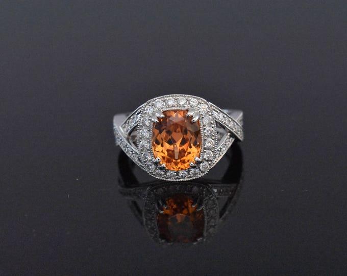 18K White Gold and Orange Garnet Ring