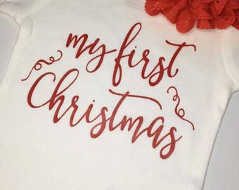 My First Christmas Bodysuit, Babies First Christmas Bodysuit, 1st Christmas, Infant Christmas Bodysuit, New Baby Christmas, Holiday Bodysuit