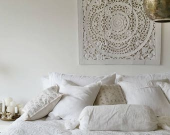Beautiful hand stitched appliqué bedcover – pure white cotton