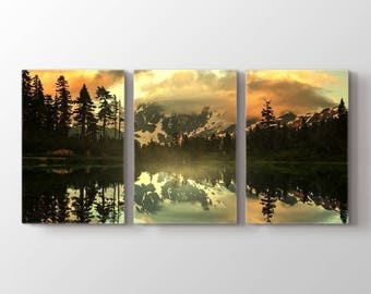 Large Wall Art Landscape Canvas Print - Lake in Forest Creates Perfect Symmetry with Reflection