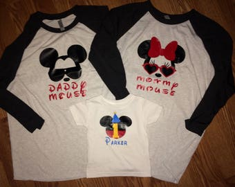 First 1st birthday family shirts / parent/ mommy Mouse / daddy Mouse shirts / raglan tshirt/ Disney shirt