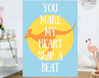 Australia Kangaroo Anniversary Greeting Card | Wife Husband Girlfriend Boyfriend | Love Greetings Cards Personalised By Flamingo Lingo(AU2)