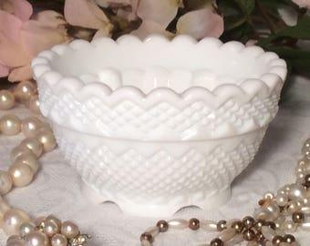 Fenton White Milk Glass Footed Trinket Dish