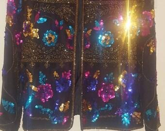 Draper' s & Damon's sequin vintage jacket floral size M