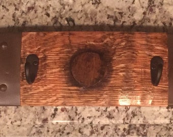 Bourbon barrel stave coat hanger