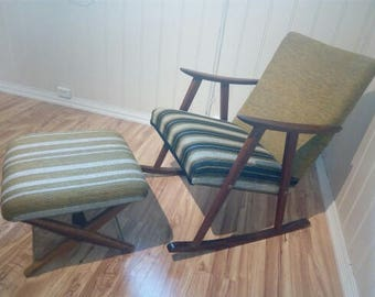 Vintage scandinavian mid century teak and wool rocking chair with footrest