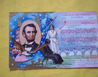 Two Vintage Postcards - Abraham Lincoln and Old Glory