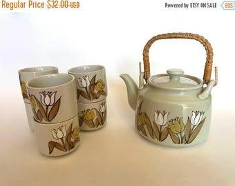SALE - SEE ANNOUNCEMENT Japanese Tea Set | Stoneware Tea Set | 70's Boho Tea Set | Tulip Teapot | Vintage Tea Set | Japanese Teapot