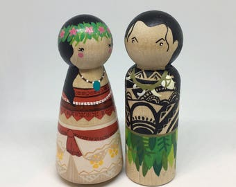 Moana & Maui Inspired Wooden Peg Dolls