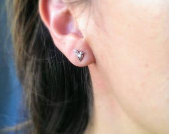 Tiny hummingbird stud earring - hypoallergenic stud earring - bird earring - hummingbird jewelry - minimalist stud earring - animal earring