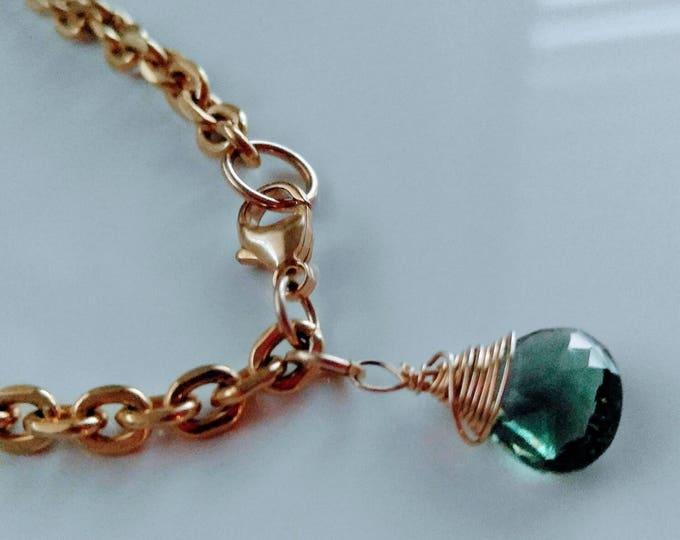 Green gemstone Gold chain bracelet with green quartz charm.  Hand wrapped green quartz gemstone gold Vermeil. Handmade. Customizable.